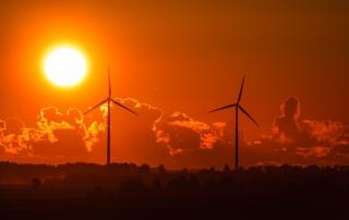 Windkraftanlage Sonnenuntergang